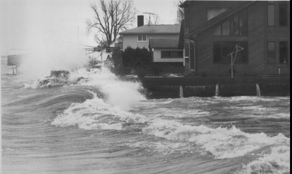 Waves From Lake Ontario Flooding Houses on Edgemere Drive