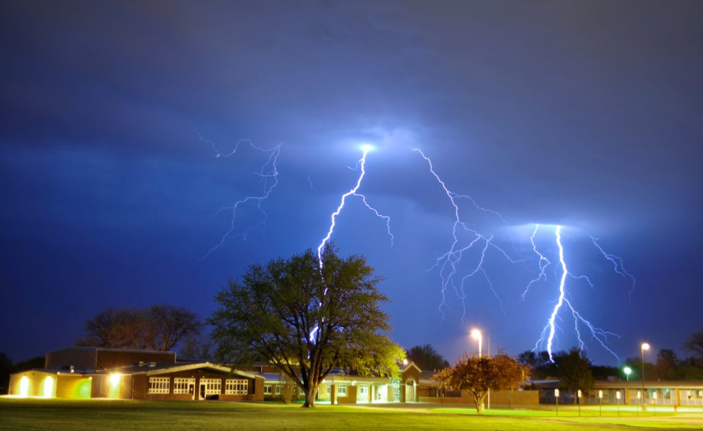 """2016 Glimpses of Greece People's Choice – """"Lightning Strike Over Elementary School"""""""