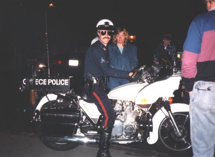 Officer Andy Elmore on Greece Police Department Motorcycle
