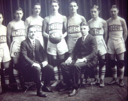 Future Greece Town Supervisor Gordon Howe and the Charlotte High School Basketball Team