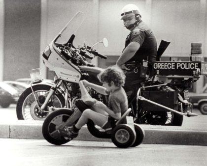 Officer Bob Maslowski on Greece Police Department Motorcycle