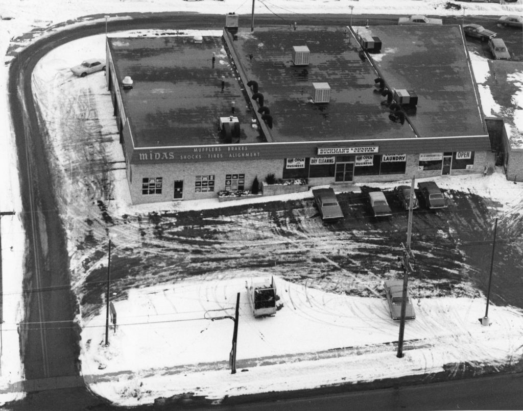 Aerial View of Buckman's Laundry Center & Midas Muffler Plaza
