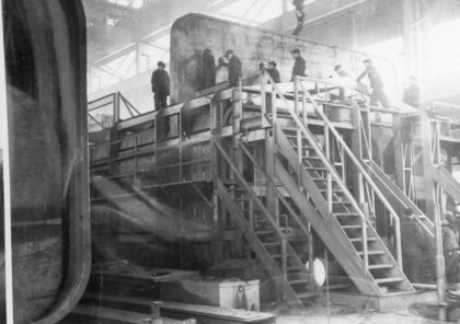 Workers at the Odenbach Shipyard