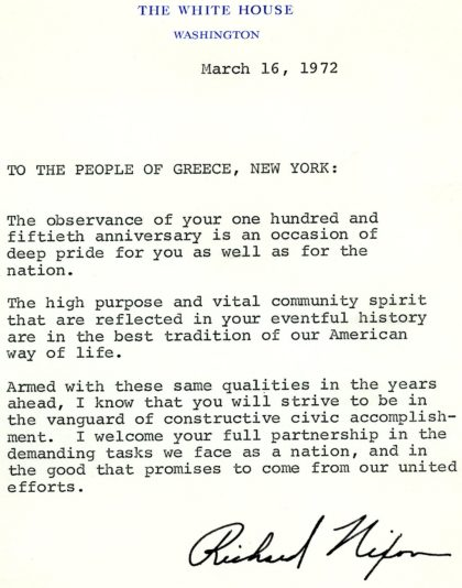 Congratulatory Letter from President Richard M. Nixon