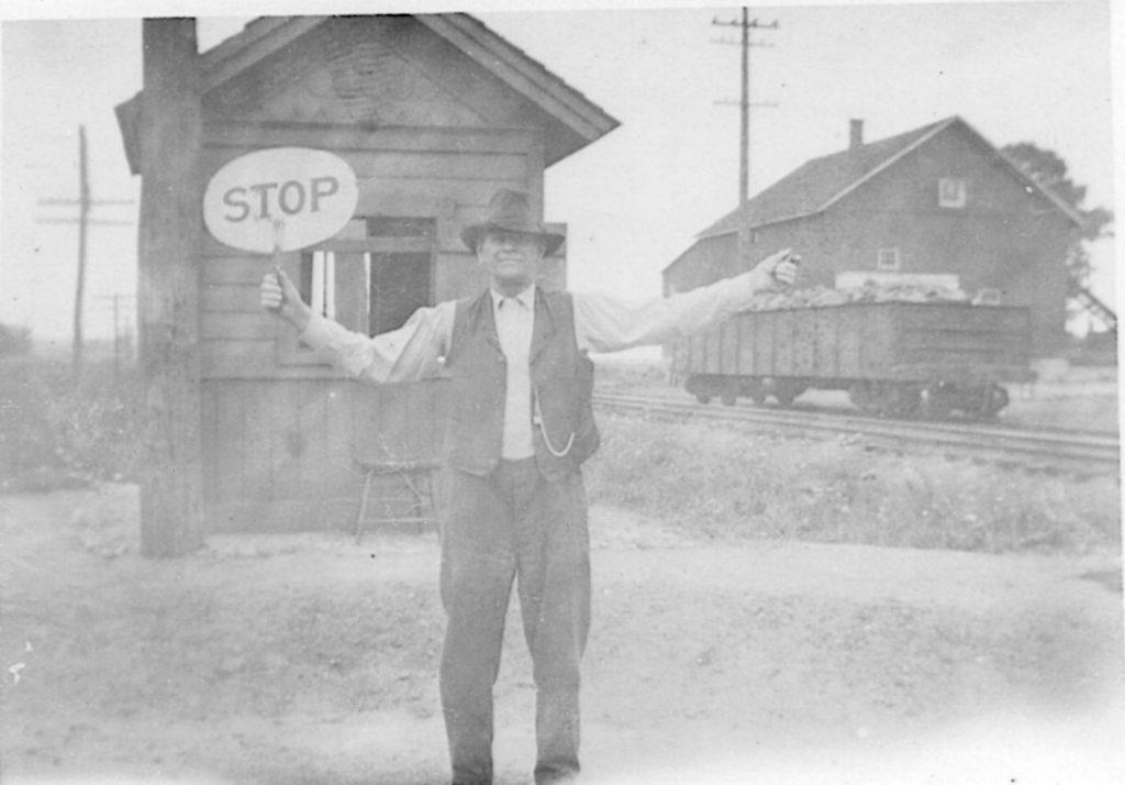 School Crossing Guard Henry Lewerenz at Barnard Railroad Crossing