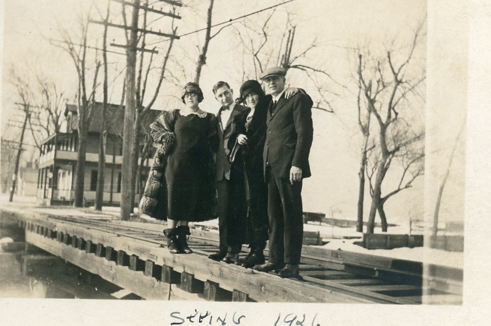 Vacationers on the Trestle Near Lakeview Hotel