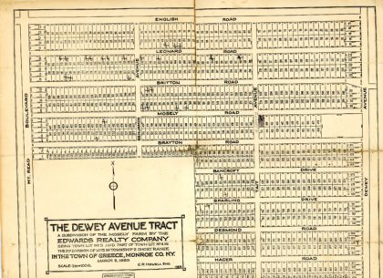 The Dewey Avenue Tract Subdivision Map 1923